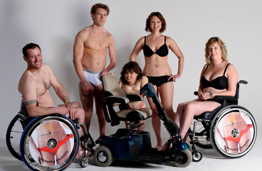 Group of people with various disabilities in their underwear