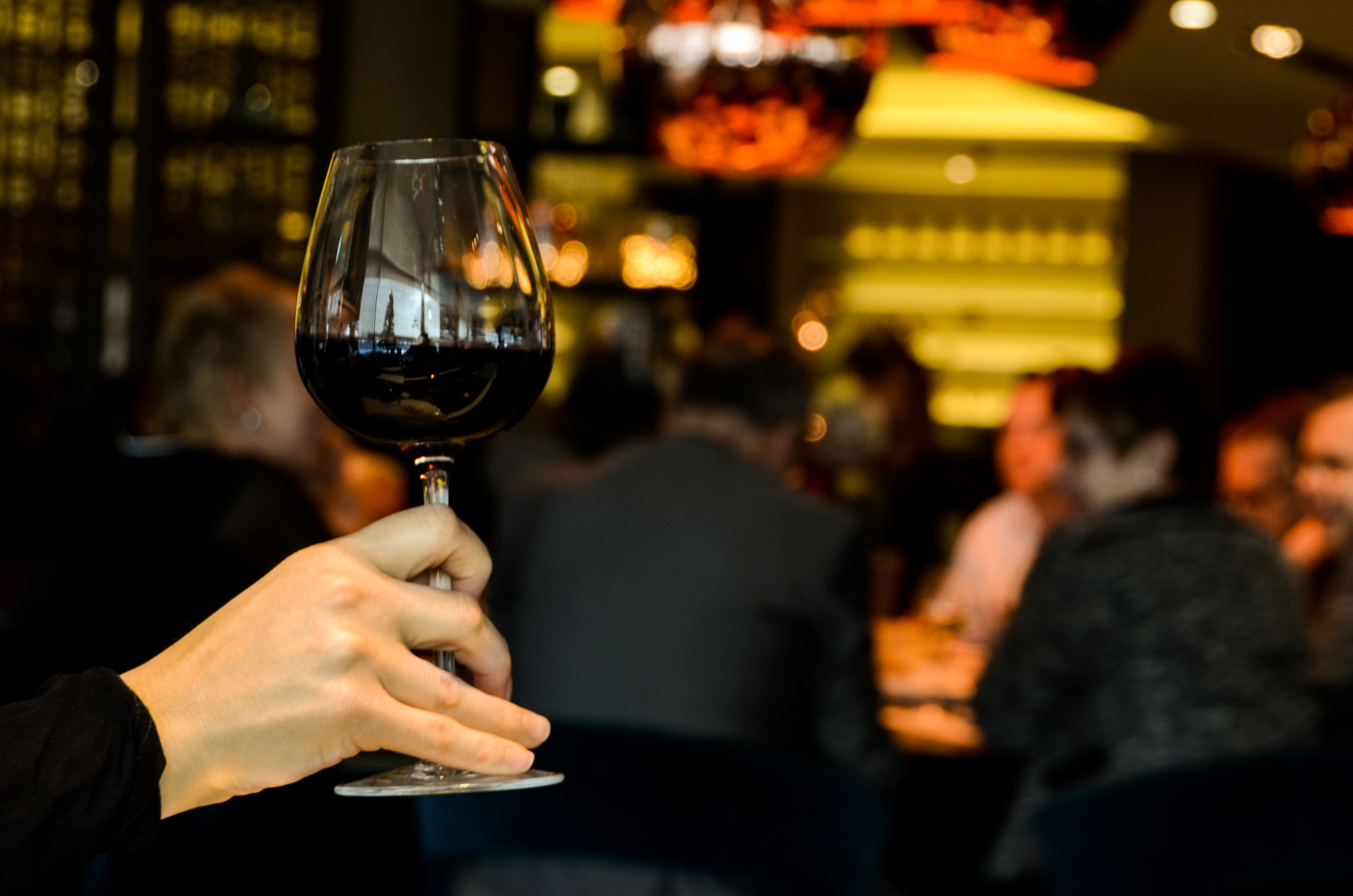 a person holding a glass of wine, in their hand with a busy bar in the background