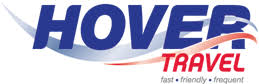 the hovertravel logo in blue and red