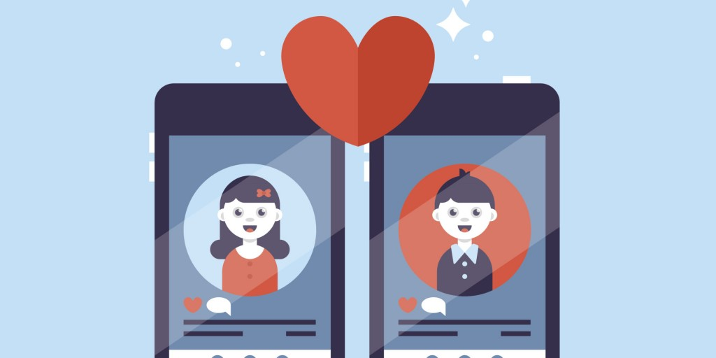 Two illustrated phones showing a dating profile and a love heart between the two screens
