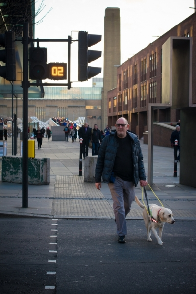 Gary walking across a busy road at the traffic lights with his guide dog