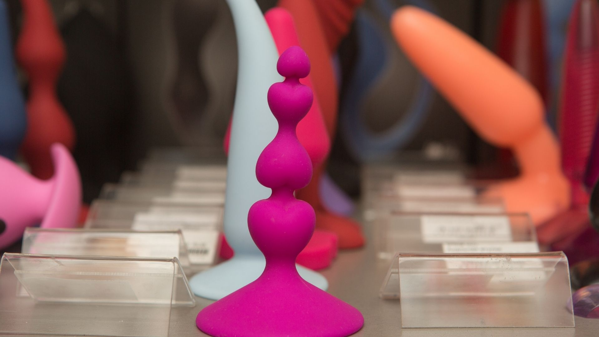 A window display of sex toys