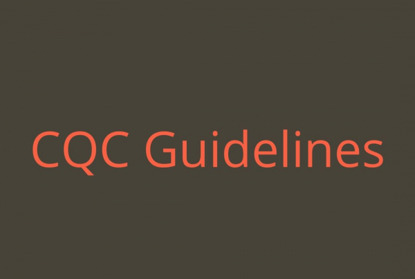 Pink text reading CQC Guidelines on a grey background