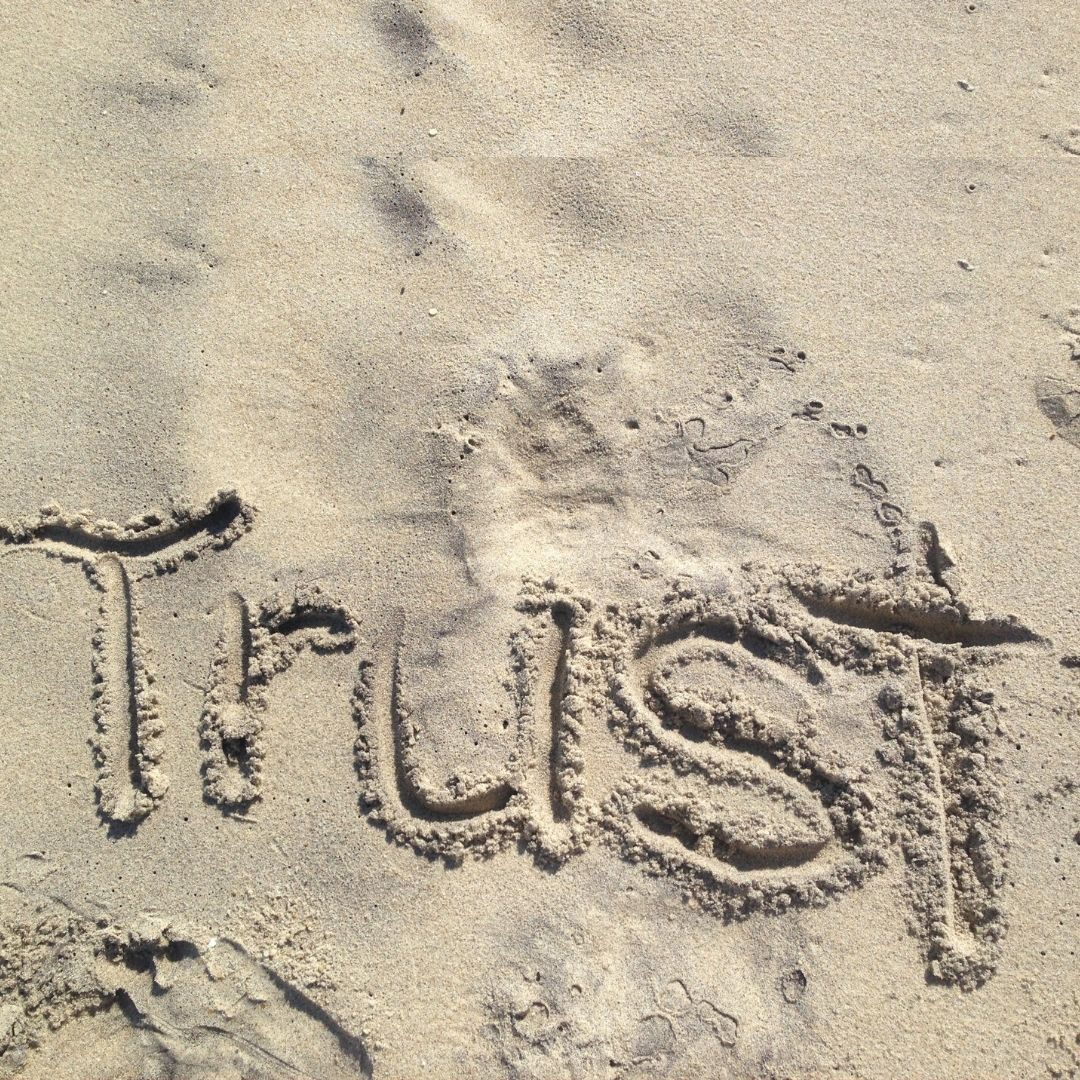 The word Trust written in the sand