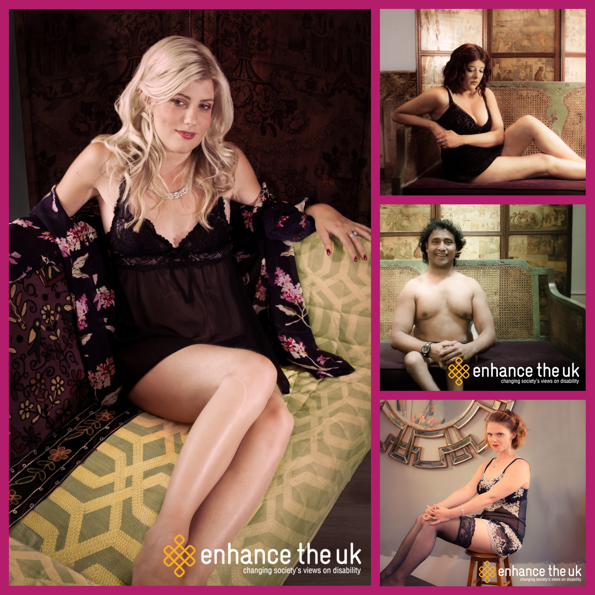 collage of Undressing disability images - 4 people posing in their underwear.