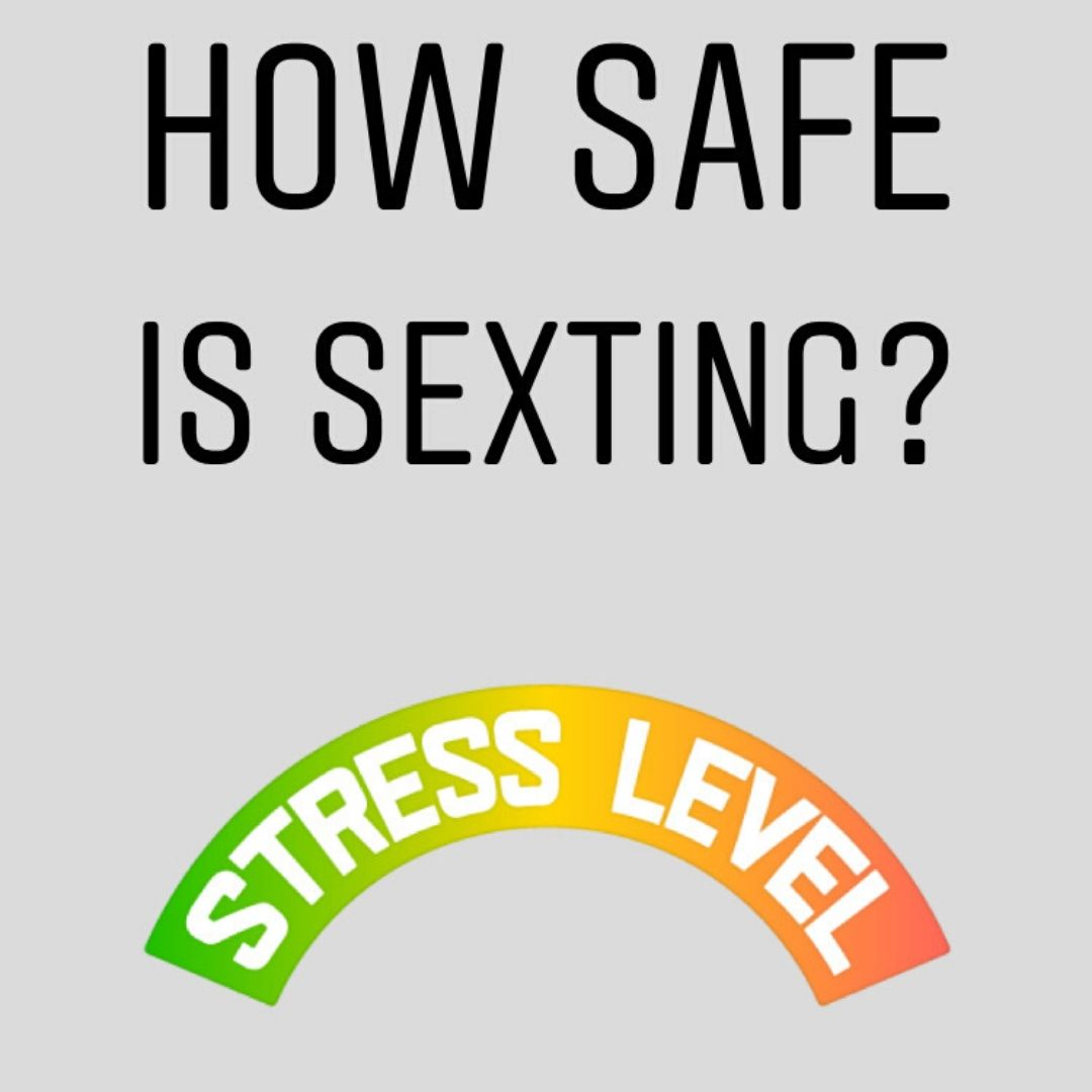 How safe is sexting? written in black capital letters with a stress level sign below