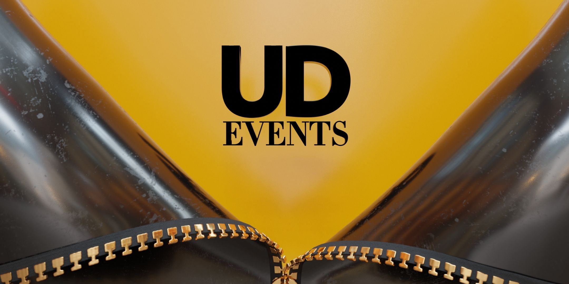 A leather jacket unzipped to reveal a yellowy orange background with the words UD events in black