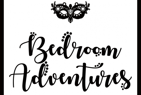 Bedroom Adventures Logo is a black lacy eye mask with the brand name in curvy black writing below