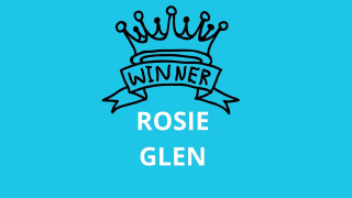 A graphic of a crown with the word WINNER written on it and the name Rosie Glen below. The background is bright blue