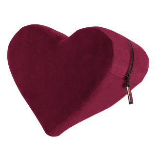 A merlot red coloured heart shaped cushion
