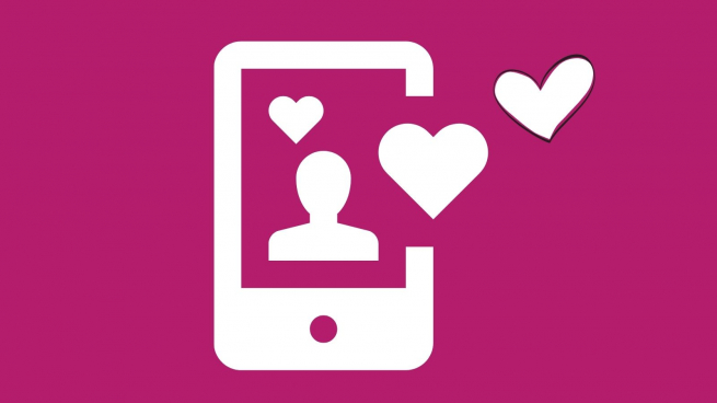 a graphic of a mobile phone with a person and lovehearts in white and the background is pink