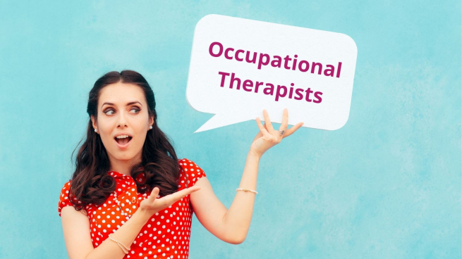 a dark haired woman in a red dress holds up a sign that reads Occupational Therapists