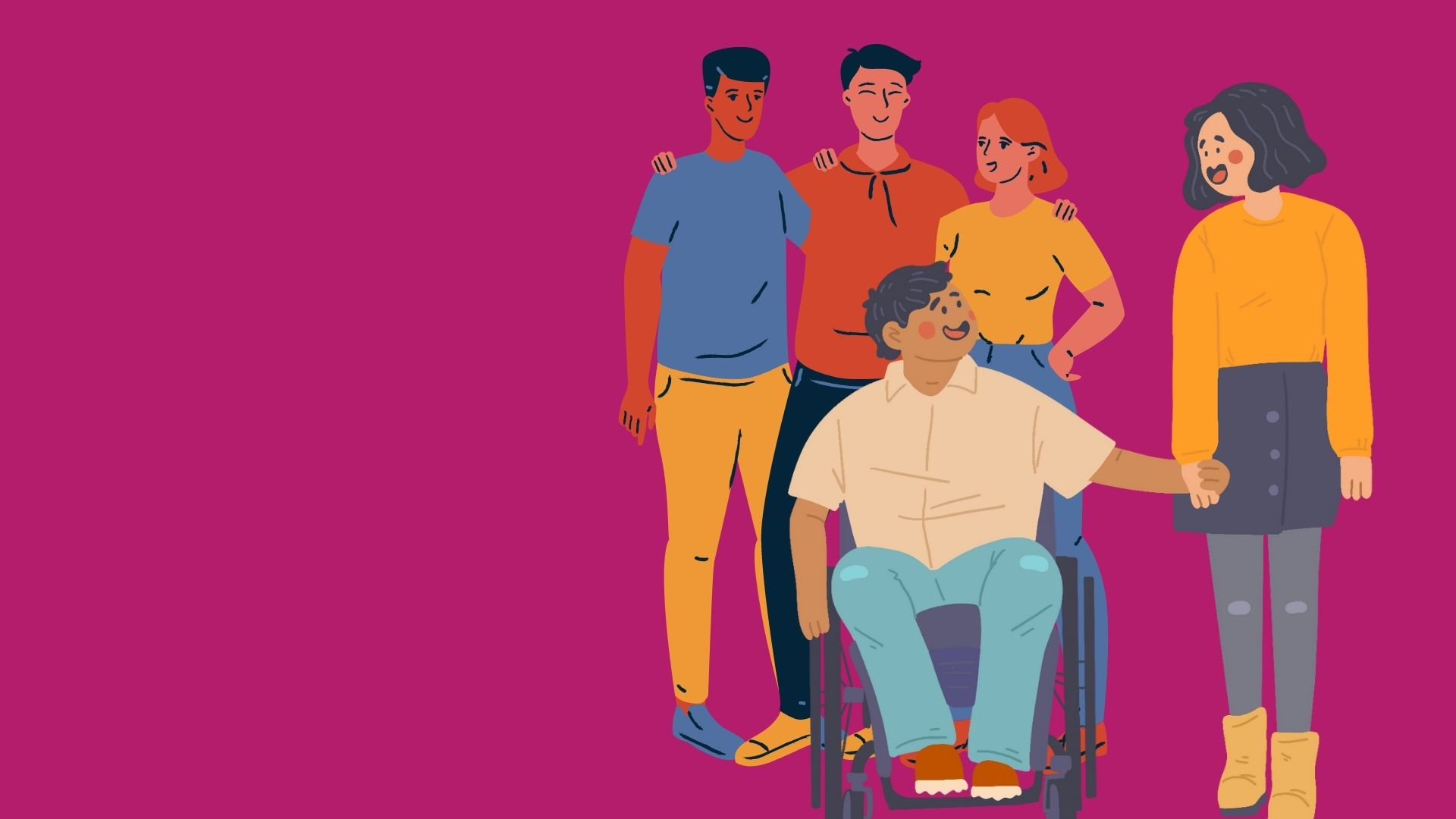 A group of young people, at the front are a young couple holding hands one of whom is a wheelchair user